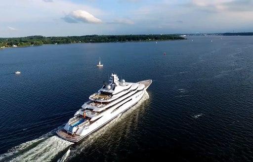 Luxury yacht AMADEA underway in the Mediterranean