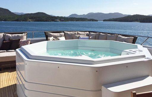 spa pool on sundeck of motor yacht daydream