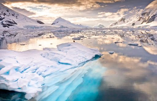 landscape in Antarctica, with glaciers in the water and mountains in background