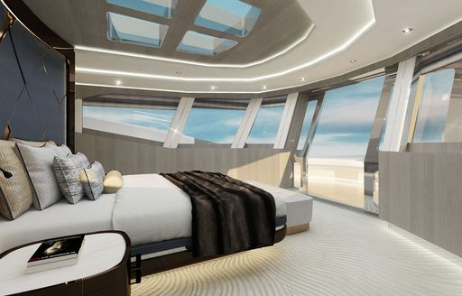 tatian yacht owners suite with large windows and skylight
