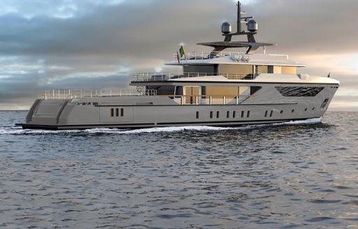 motor yacht drifter world cruising in the ocean