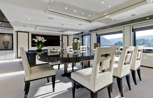 formal dining table in the main salon of motor yacht LILI