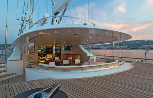 Exterior dining area onboard Parsifal III