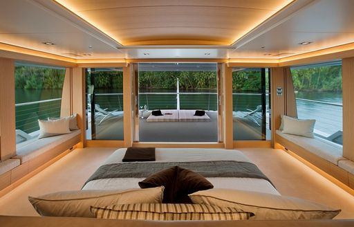 The master suite onboard expedition yacht Big Fish