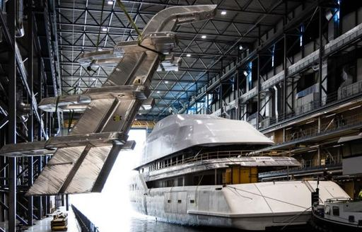 Mast getting ready to be attached to Feadship luxury yacht Project 816