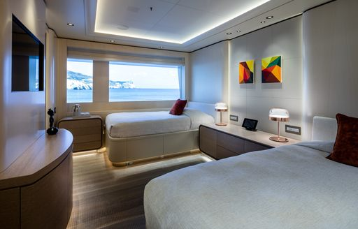 Twin cabin on superyacht O'PARI with sea views