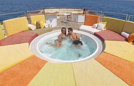 coloured sunpads on sundeck of luxury yacht  daloli