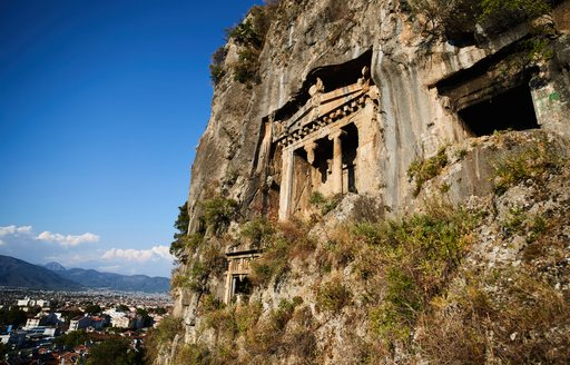 Historical architecture carved into the cliffs in Marmaris