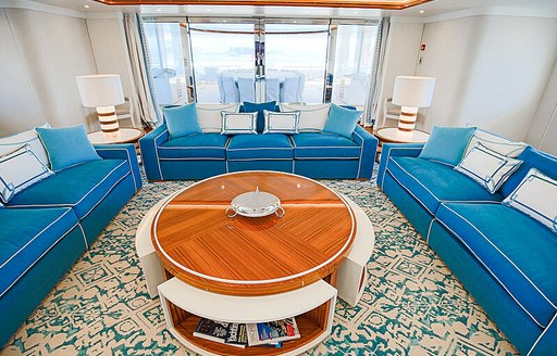 Aqua blue interiors of Mimtee charter yacht