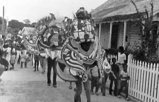 16th century Junkanoo carnival parade in the street