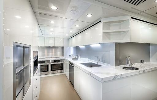 Lightly colored galley area on explorer yacht 'Seven Diamonds'
