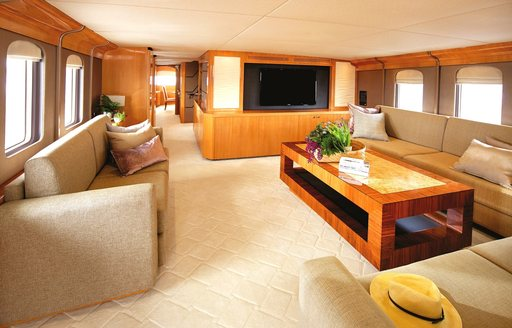 Lounge area of main deck on board expedition yacht Anda