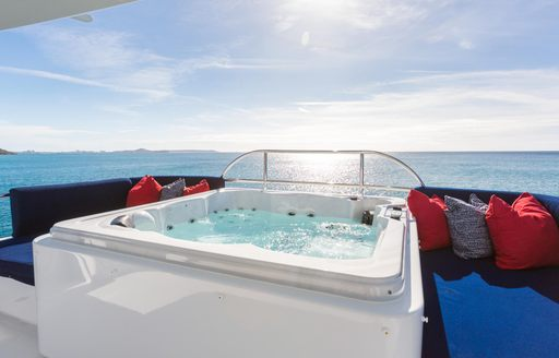 At Last yacht's sun deck Jacuzzi
