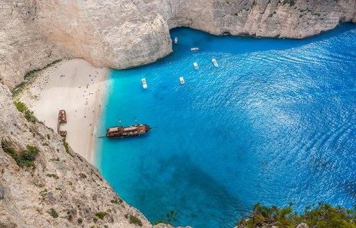 navaggio bay, shipwreck beach, in greece