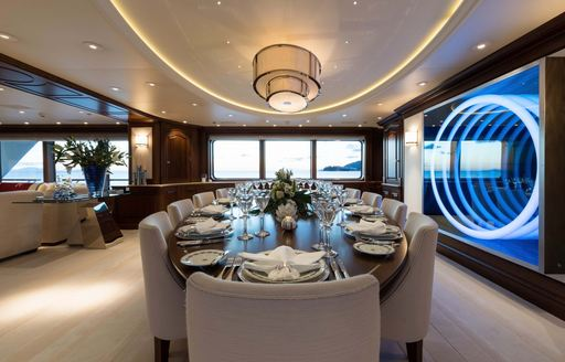 Formal dining area onboard MY Flag