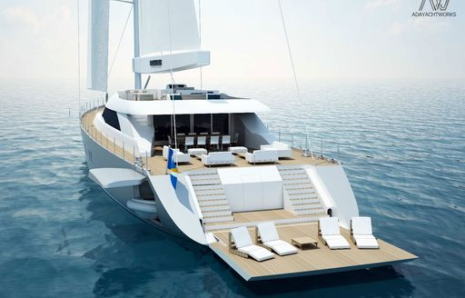drop down swim platform extends deck space available on board motor sailer All About You