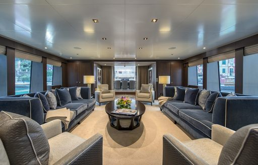the stylish and classic interior of motor yacht the wellington the brand new charter yacht in the hit tv series below deck Mediterranean