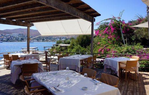 restaurant at Maçakizi beach club in Bodrum, Turkey