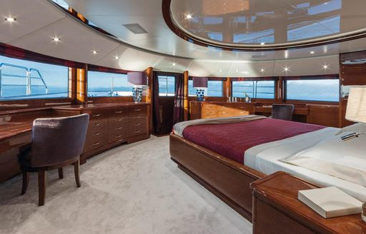 sleeping area with panoramic views in the master suite aboard luxury yacht CHECKMATE