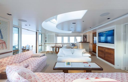 Large sofas and widescreen TV on explorer yacht 'Blue II'