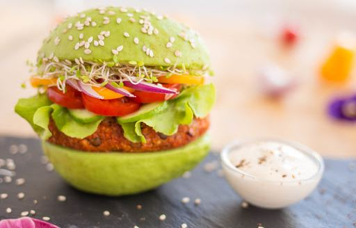 Gourmet burger with aioli dip