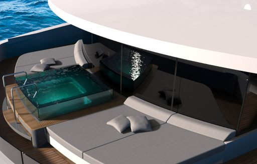 Jacuzzi and sun pads on master suite terrace of superyacht SOLO