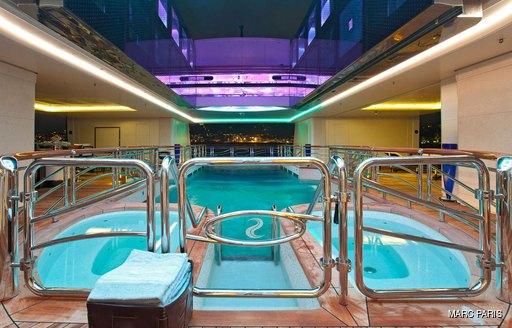 Salt Water pool inside Motor Yacht Serene