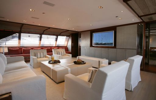 sophisticated main salon on board charter yacht ROSEHEARTY