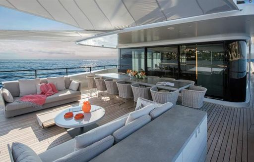 x superyacht shaded seating area