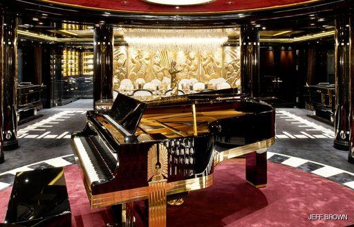 Grand piano in main salon on luxury yacht Phoenix 2