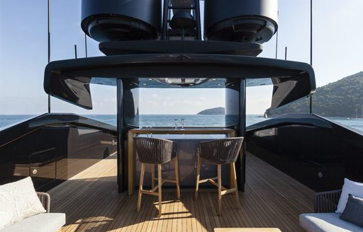 alfresco bar on the top deck of motor yacht 'Lucky Me'
