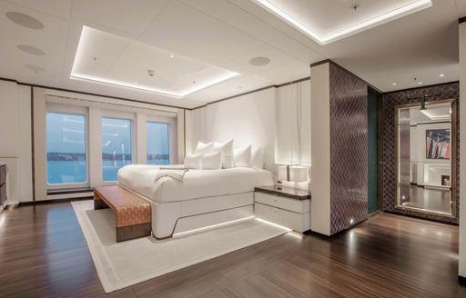 hasna yacht main suite interiors
