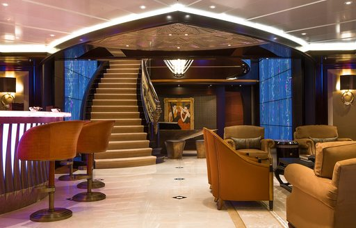 Steps leading to main salon on Lurssen superyacht KISMET, star of new Michael Bay movie