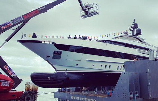 lady lena superyacht prepares to launch at la spezia
