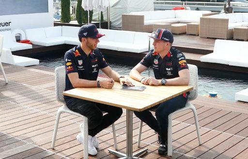 Redbull teammates talk at 2019 f1 monaco grand prix