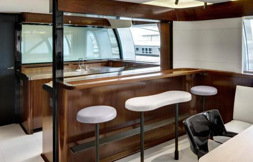 Contemporary bar on luxury yacht VERTIGO