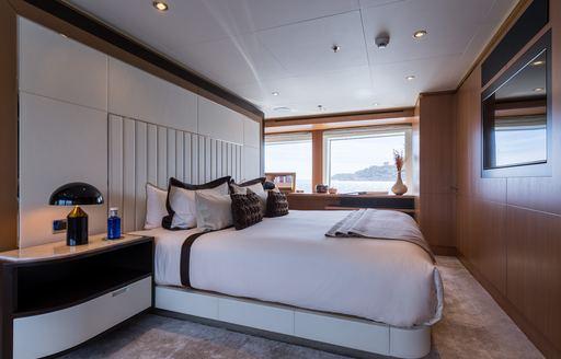 luxury full-beam master suite aboard motor yacht GO