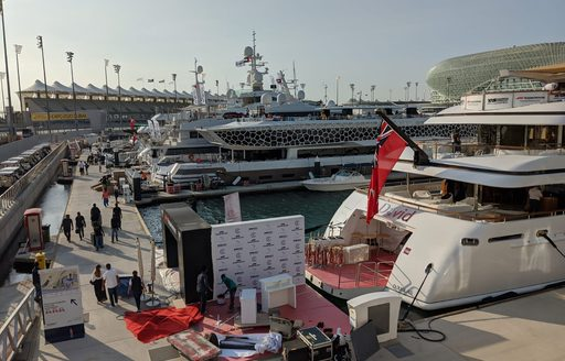 a fleet of superyachts include charter yacht St David berthed at yas marina in preperation for Abu Dhabi Grand Prix 2019