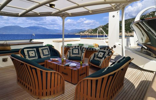 comfortable lounge area on sundeck of luxury yacht STEEL