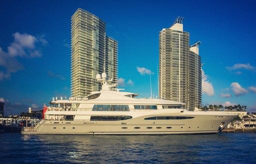 superyacht cruising Miami's waterways ahead of Art Basel Miami