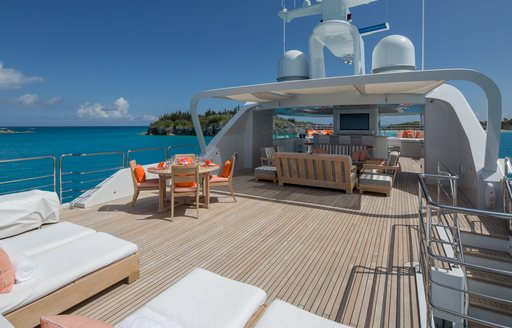 a view from the aft sundeck of superyacht time for us