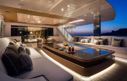 Superyacht Lana exterior spaces lounging area