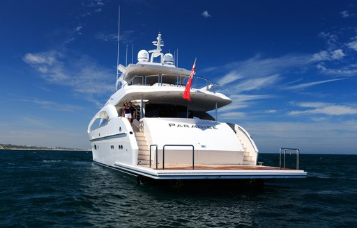 Stern of motor yacht Paradise  when cruising on charter in Australia