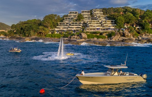 Jet pack and tenders line up for Kata Rocks Superyacht Rendezvous 2016