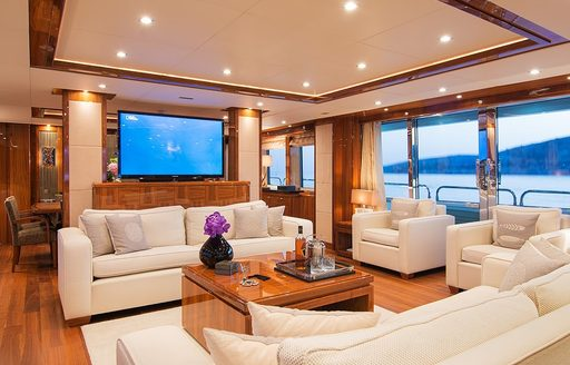 The contemporary interior furnishings featured on board superyacht PATHOS