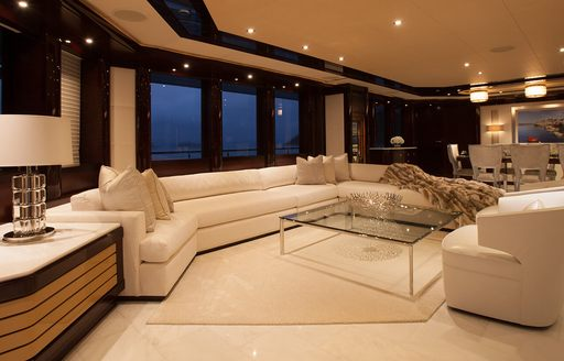 light and tranquil main salon aboard luxury yacht TRENDING