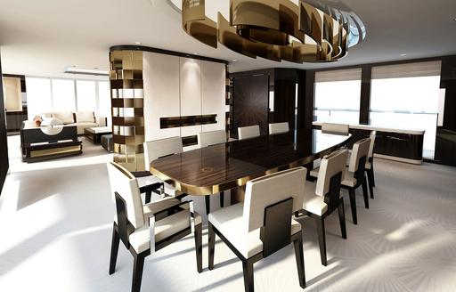 the interior of luxury yacht SOARING by abeking & rasmussen with sleek and classic style and a ten person dining arangement