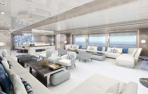 large seating areas in the main salon aboard motor yacht GO