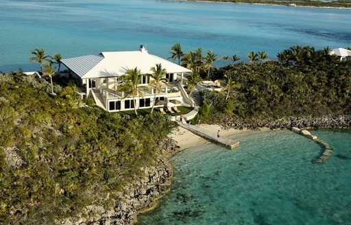 Aerial view of Over Yonder Cay Bahamas