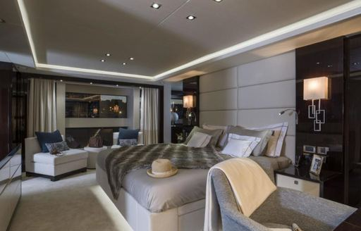 One of the guest cabins featured on board charter yacht SESAME